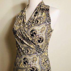 Grey/Yellow/Black Paisley Print Dress